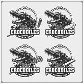 Cricket, Baseball, Lacrosse And Hockey Badges And Labels. Sport Club Emblems With King Crocodile. poster