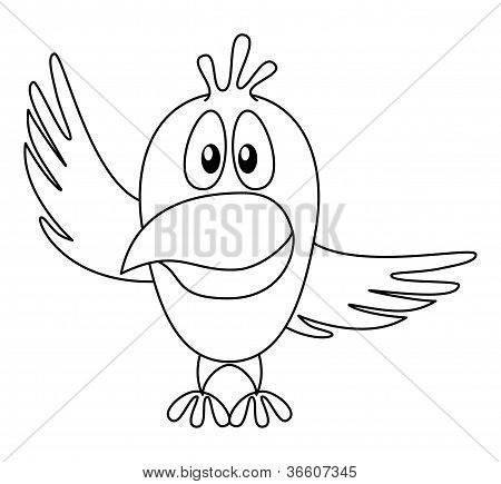 Bird with pointing wing, contour