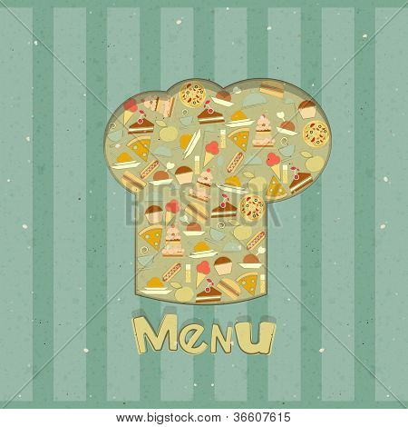 Retro Menu Card Designs With Chefs Hat