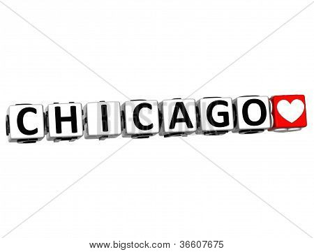 3D Chicago Love Button Click Here Block Text