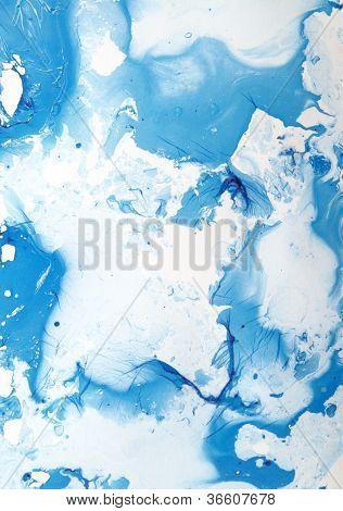 Abstract Hand Drawn Paint Background: Blue And White Patterns