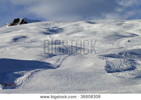 Snow Skiing Piste In Evening