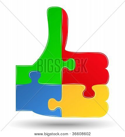 Puzzle thumbs up symbol