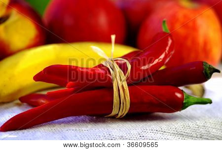 Red chili and fruits