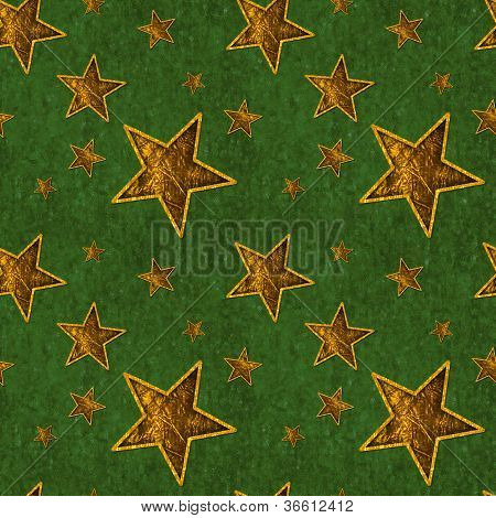 Seamless Gold Stars on Deep Green