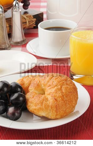 Breakfast Croissant With Grapes
