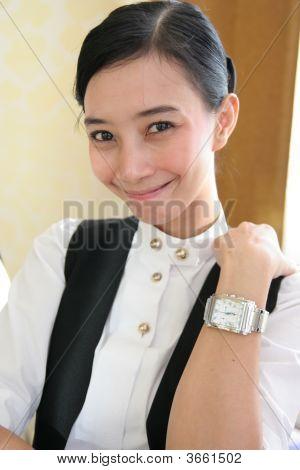 Waitress At Work Smiling