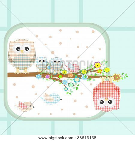 floral background - couple of owls and birds sitting on branch