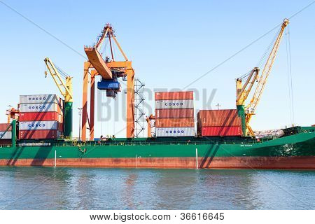 Container ship under loading