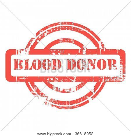 Blood donor used red grunge stamp isolated on white background.