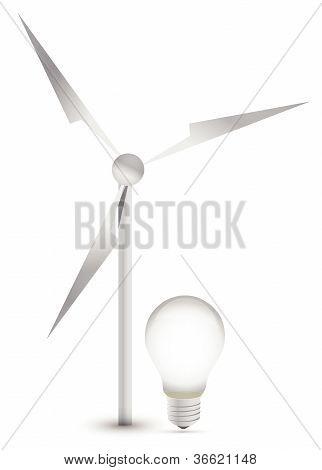 wind turbine and a light bulb illustration design