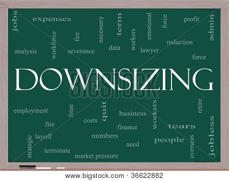 Downsizing Word Cloud Concept On A Blackboard