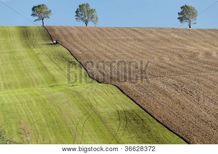 Tractor cultivating large farm fields