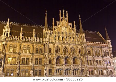 New Town Hall in Munich, Bavaria, Germany, at night