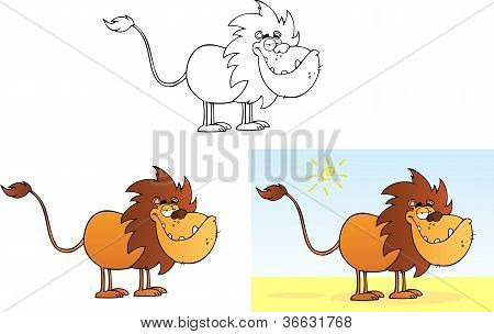 Lion Cartoon Mascot Character .Collection