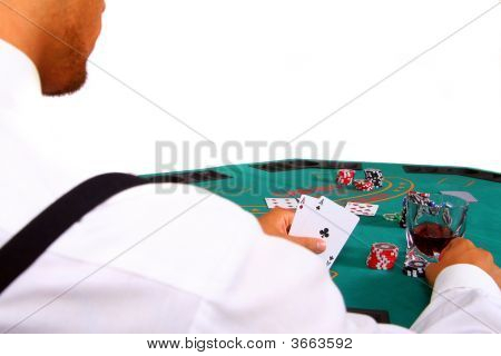 Poker Player With Table