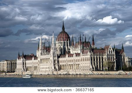 the Danube River and the Hungarian Parliament against a dramatic sky