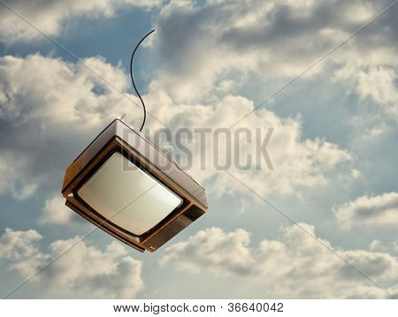 Old Television Falling Down From Sky, Outdoors