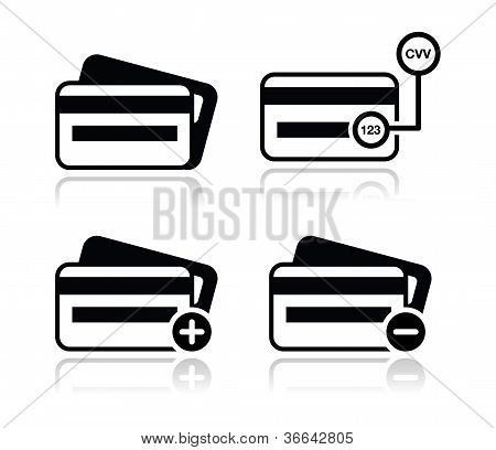 Credit Card, CVV code black icons set with shadow