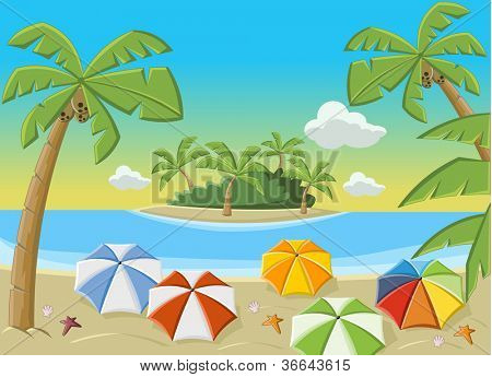 Beautiful tropical beach with blue ocean, umbrellas and palm / Coconut trees.