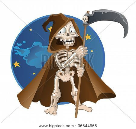 Fun cartoon vector Death on a night sky background
