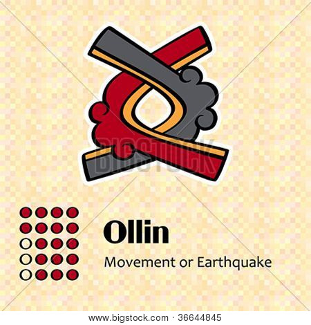 Aztec calendar symbols - Ollin or movement (17)