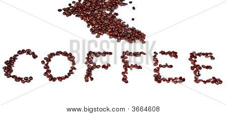 Coffee Word In Beans Isolated On White Background
