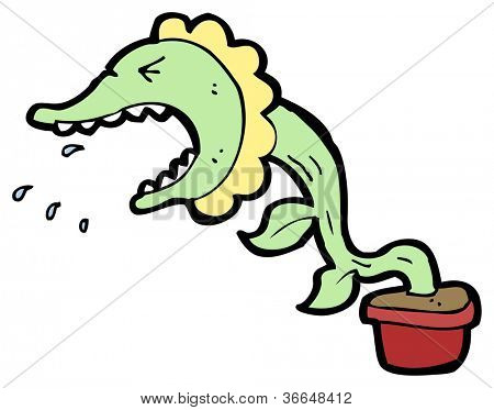 cartoon man eating plant