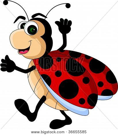 funny red Ladybug cartoon smiling