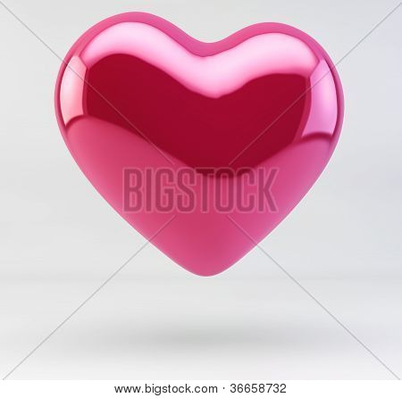 3D Illustration Of A Shiny Red Pink Heart Isolated On White Background