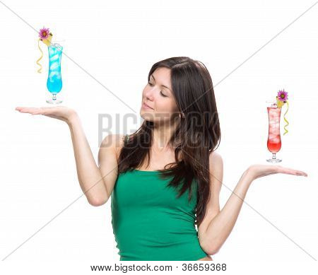 Woman Compare Cocktails Drink In Hand
