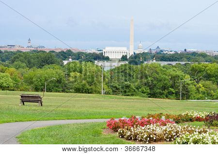 Washington DC National Mall, including Lincoln Memorial, Monument and United States Capitol building.