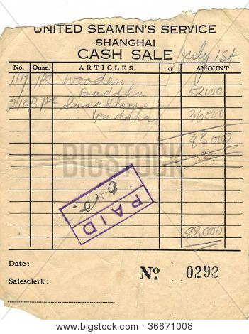 United Seamans Service Shanghai Cash Sale Receipt Circa 1940's