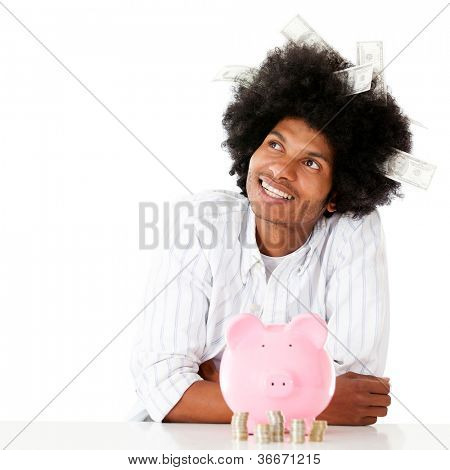 Thoughtful rich man thinking how to spend the money - isolated