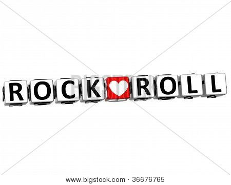 3D Rock Love Roll Button Click Here Block Text