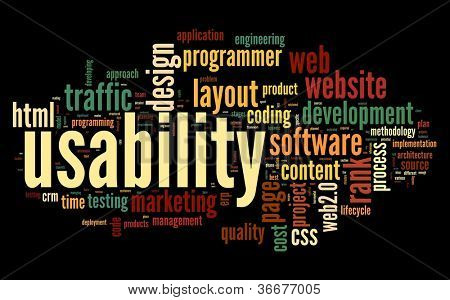 Web usability concept in tag cloud on black background