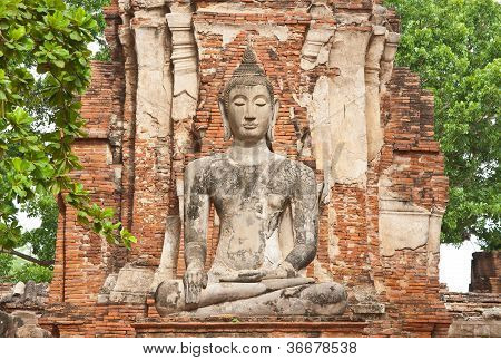 The Big Ancient Buddha Statue At Ayutthaya Historical Park