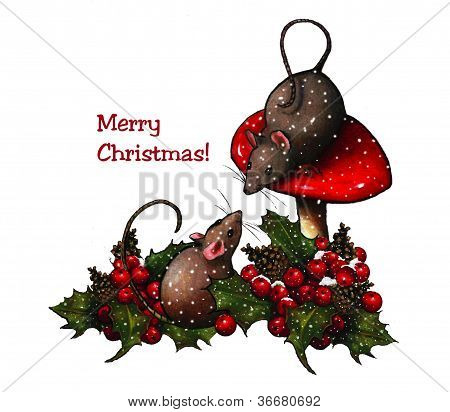 Two Mice With Holly & Toadstool, Merry Christmas