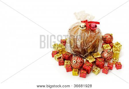 Panettone on white background