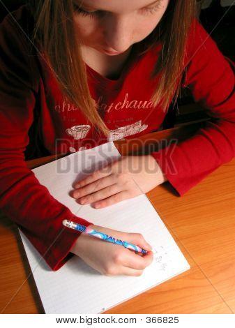 Girl Study Homework