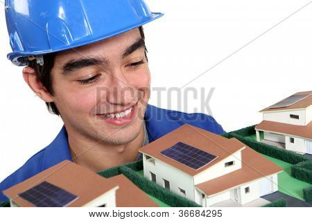 Bricklayer looking model
