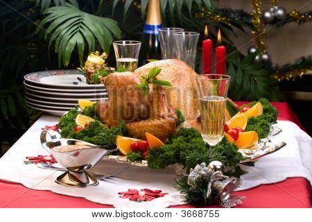 Christmas Turkey On Holiday Table