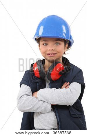 Girl dressed as a builder