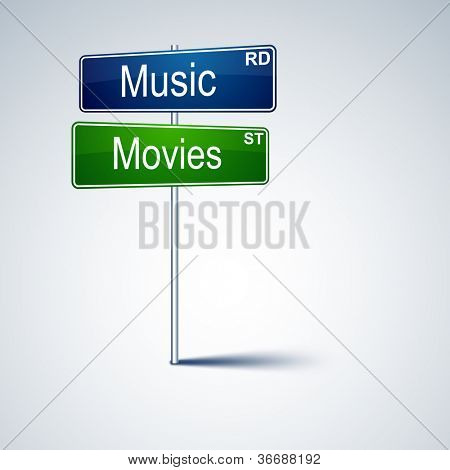Vector direction road sign with music movies words.
