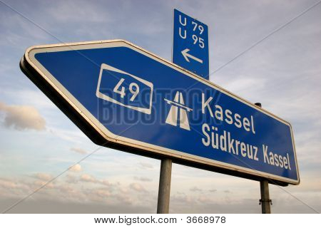 Autobahn Direction Sign To Kassel In Germany