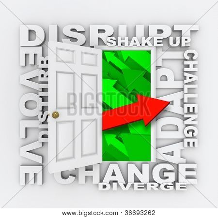A door opens to show one arrow pointing in a new direction, surrounded by words symbolizing a paradigm shift - disrupt, evolve, shake up, adapt, disturb, adapt, change, challenge, diverge