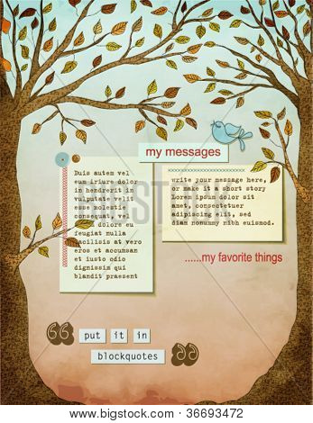 Fall Background Page, with text plates, framed by two strong healthy trees, with big trunks, autumn leaves, and a blue bird
