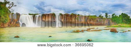 Beautiful Dry Nur waterfall in Vietnam. Panorama