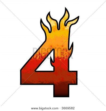 Flames Alphabet Number - 4 Four