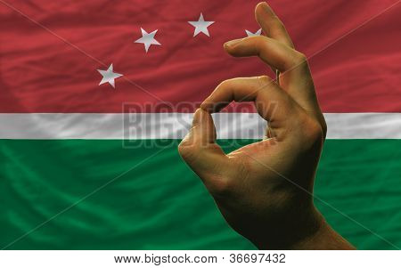Ok Gesture In Front Of Maghreb National Flag